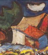 milan-konjovic-31x56cm-kuce-na-salasu-1958-godina-ulje-na-lesonitu-svojstvo-kulturnog-dobra