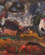 Milan Konjovic 51x93cm – Salasi na Jarosu II – 1974. godina – asocijativna faza – ulje na lesonitu – monografija broj 2757 – svojstvo kulturnog dobra