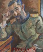 Milan Konjovic 60x76cm – 1941.godina – Srpski oficir u logoru – tempera na kartonu – reprodukovana u monografiji – svojstvo kulturnog dobra