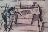 Pojednostavljena mrtva priroda 36x50cm akvarel i tus na kartonu 1965