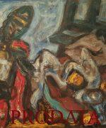 Milan Konjovic 85x115cm – Ratnik – 1972. godina – asocijativna faza – ulje na lesonitu – svojstvo kulturnog dobra