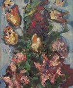 Milan Konjovic 81x47cm – Bozuri. lale – 1977. godina – ulje na lesonitu – monografija broj 2962 – svojstvo kulturnog dobra
