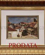 Ljubica Cuca Sokic 25x35cm- Krovovi u Sremskim Karlovcima-1949.godina – ulje na kartonu-svojstvo kulturnog dobra