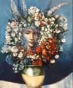 Momo Kapor 120x80cm – Plavo cvece – 1996.godina – ulje na platnu