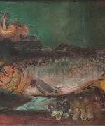 Jovan Bijelic 31x48cm – Mrtva priroda sa ribom – 1938-1940. godina – ulje na lesonitu – svojstvo kulturnog dobra