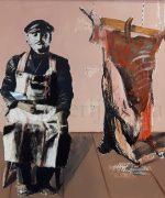 Mica Popovic 70x76cm – U cast Rembrantu – 1983.godina – ulje na lesonitu – aplikacija – svojstvo kulturnog dobra